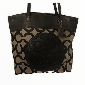 Coach gray black leather optic c tote bag
